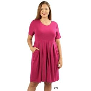 Dresses & Skirts - Plus Pink Short Sleeve Casual Pleated Swing Dress
